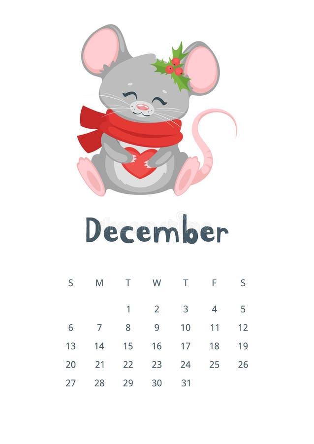 12月日历平的传染媒介例证 免版税库存照片