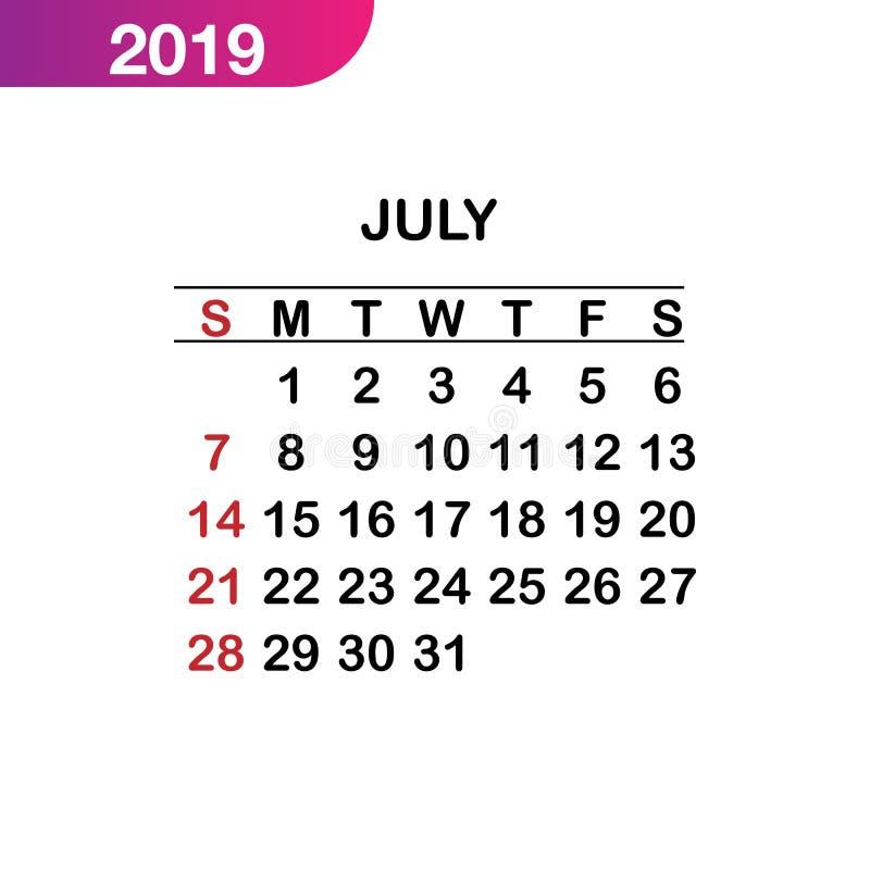 7月日历2019年,星期从星期天,企业模板开始.图片