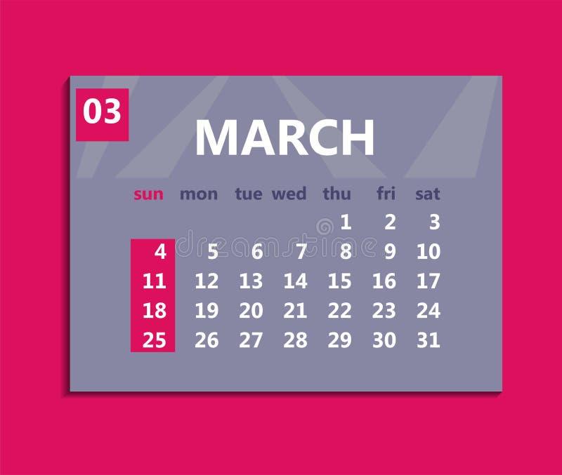 3月日历2018年 在星期天,星期起始时间 企业illu 皇族释放例证