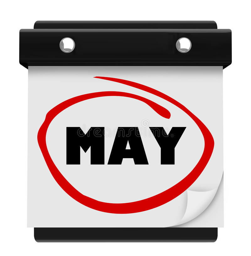 5月月词挂历记住日程表 库存例证