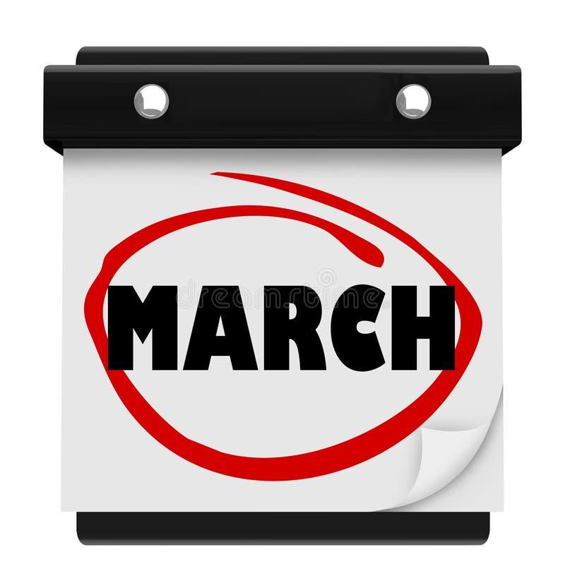 3月月词挂历记住日程表 向量例证
