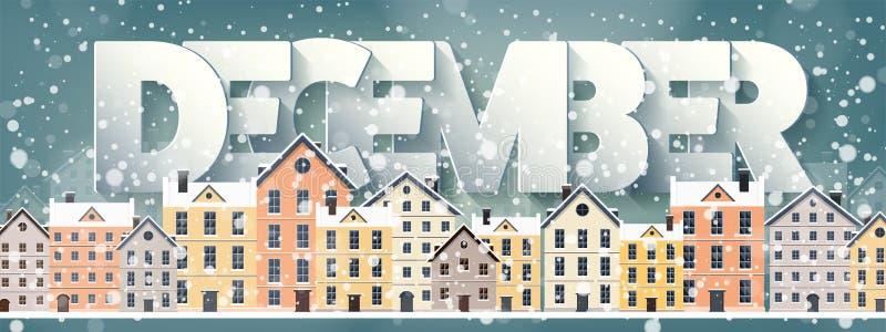 12月月,冬天都市风景 城市剪影 镇地平线 中间地区房子全景 新年,圣诞节假日 皇族释放例证