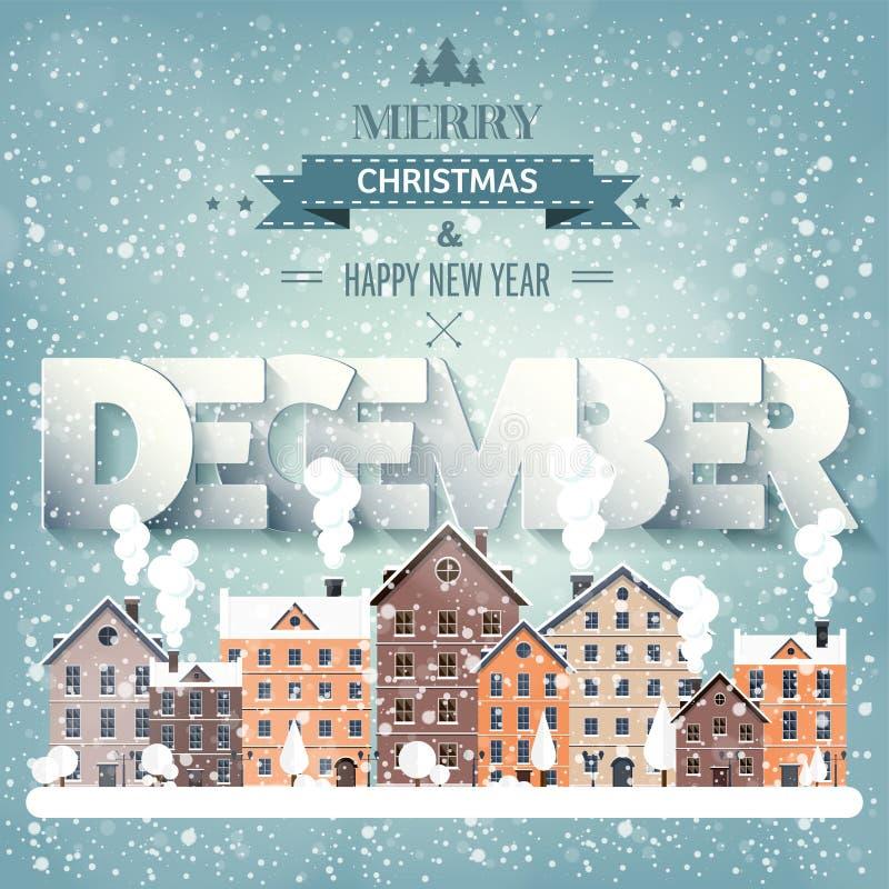12月月,冬天都市风景 城市剪影 镇地平线 中间地区房子全景 新年,圣诞节假日 向量例证