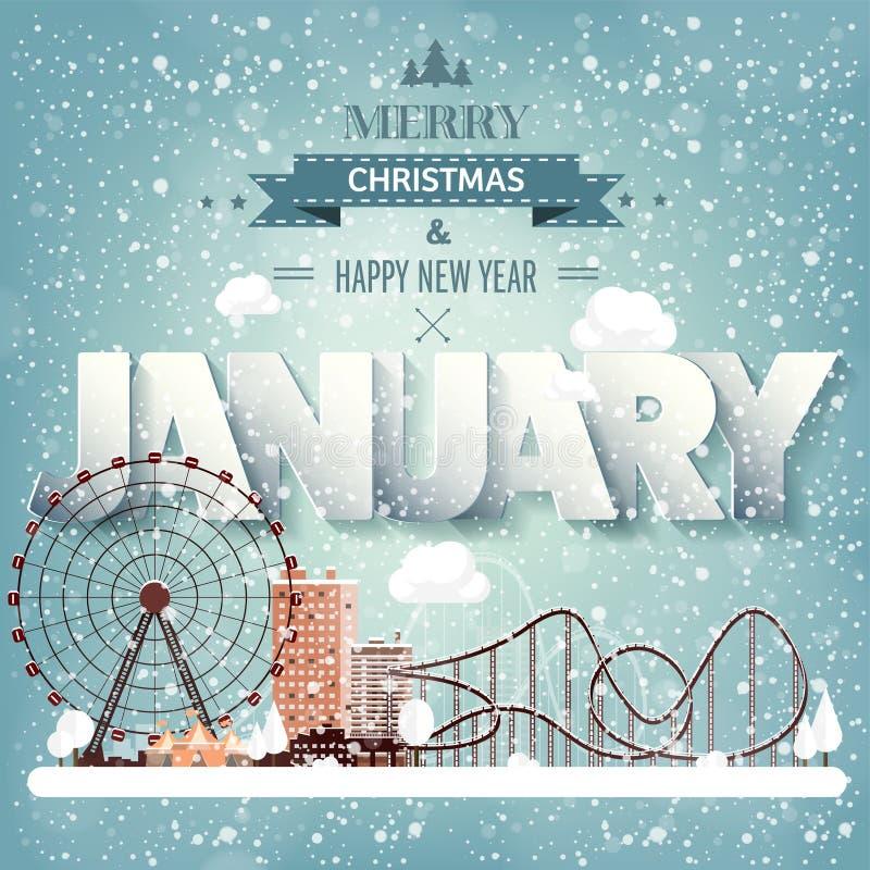 1月月,冬天都市风景 城市剪影 镇地平线 中间地区房子全景 新年,圣诞节假日 皇族释放例证