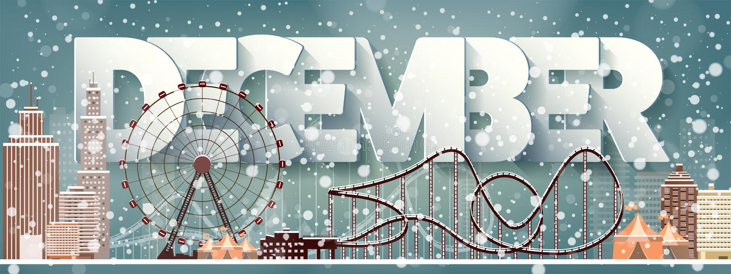 12月月,冬天都市风景 城市剪影 镇地平线 中间地区房子全景 新年,圣诞节假日 库存例证