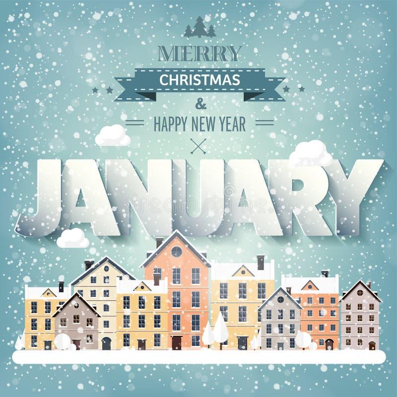 1月月,冬天都市风景 城市剪影 镇地平线 中间地区房子全景 新年,圣诞节假日 向量例证