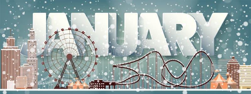 1月月,冬天都市风景 城市剪影 镇地平线 中间地区房子全景 新年,圣诞节假日 库存例证