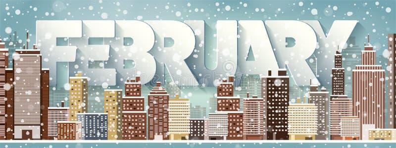 2月月,冬天都市风景 城市剪影 镇地平线 中间地区房子全景 新年,圣诞节假日 皇族释放例证
