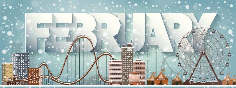 2月月,冬天都市风景 城市剪影 镇地平线 中间地区房子全景 新年,圣诞节假日 库存例证