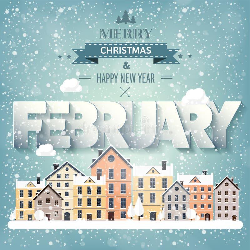 2月月,冬天都市风景 城市剪影 镇地平线 中间地区房子全景 新年,圣诞节假日 向量例证