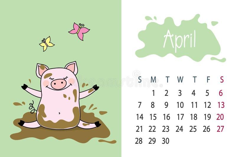 4月月2019年与逗人喜爱的桃红色猪,肮脏的por的日历页图片