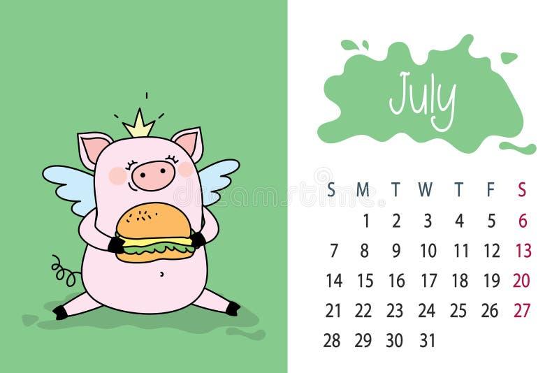 7月月tamplate2019年与逗人喜爱的桃红色猪的日历页图片