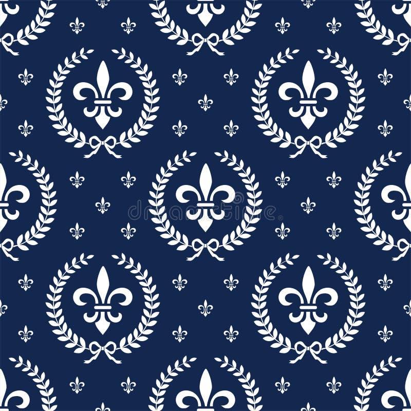 月桂树新古典主义的模式无缝的纺织品 向量例证