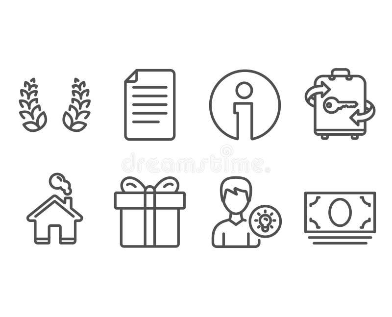 月桂树花圈、礼物盒和文件象 人想法,行李和现金金钱标志 向量例证