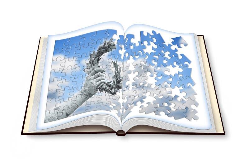 月桂树花圈手扶由在被打开的photobook的一个古铜色雕象我 免版税库存图片
