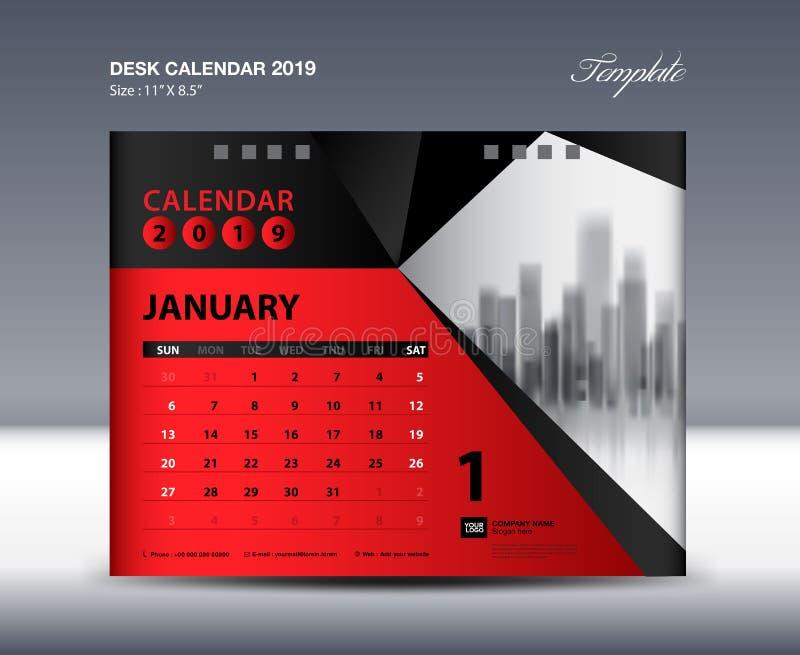 1月桌面日历2019年模板,星期星期天开始,文具设计,飞行物设计传染媒介,打印装置创造性的想法 库存例证