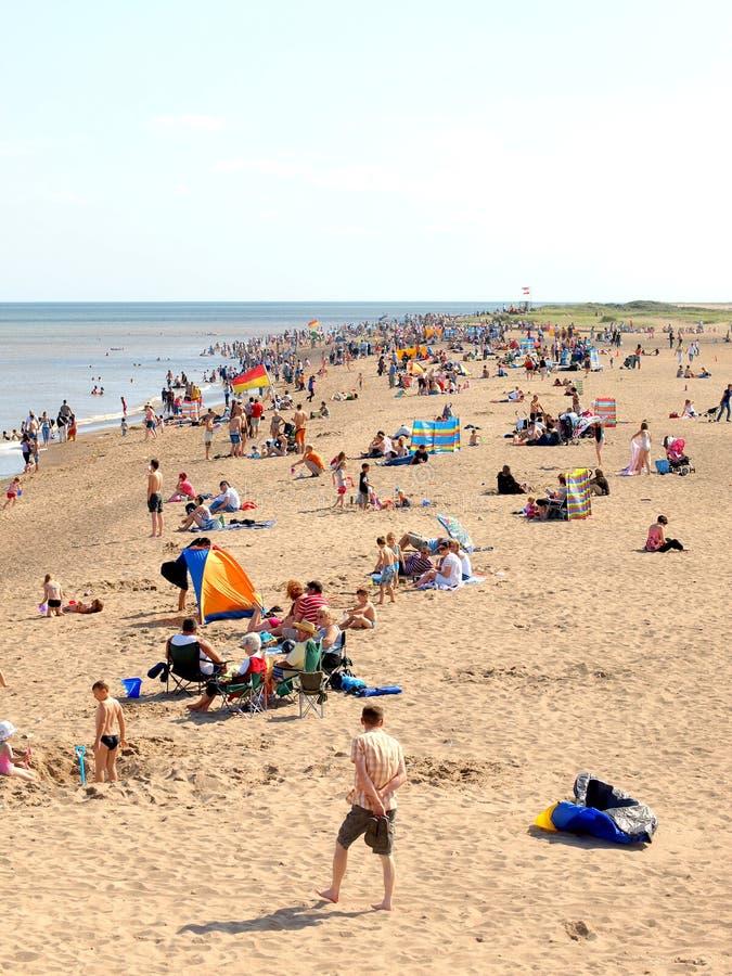 8月海滩, Skegness,林肯郡 库存图片