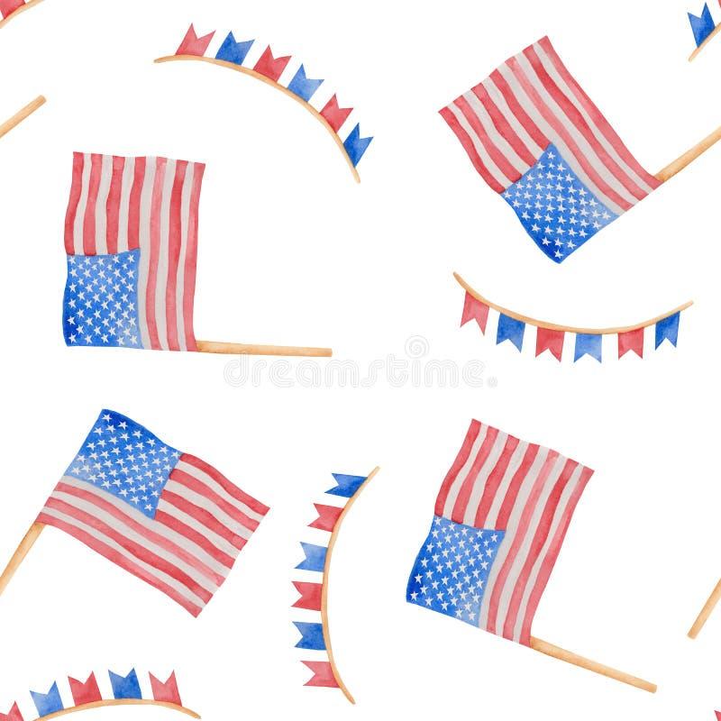 7月独立日的水彩例证第4在美国 库存例证