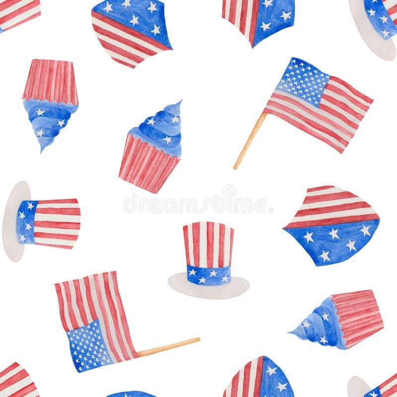 7月独立日的水彩例证第4在美国 皇族释放例证