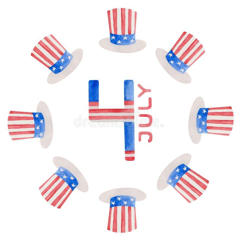 7月独立日的水彩例证第4在美国 向量例证