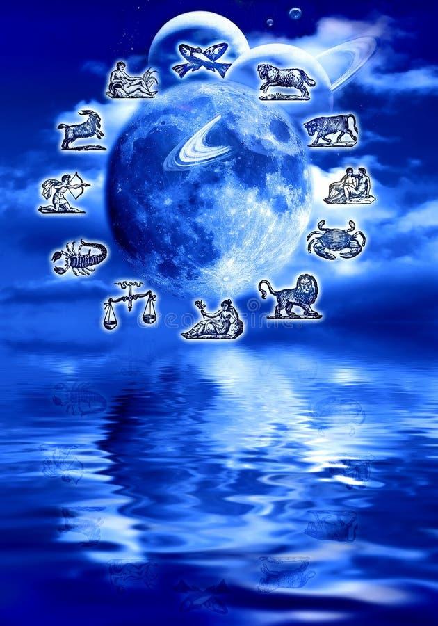 月球的占星术 库存例证