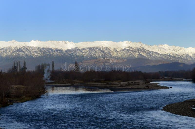 1月的风景阿布哈兹 免版税库存图片