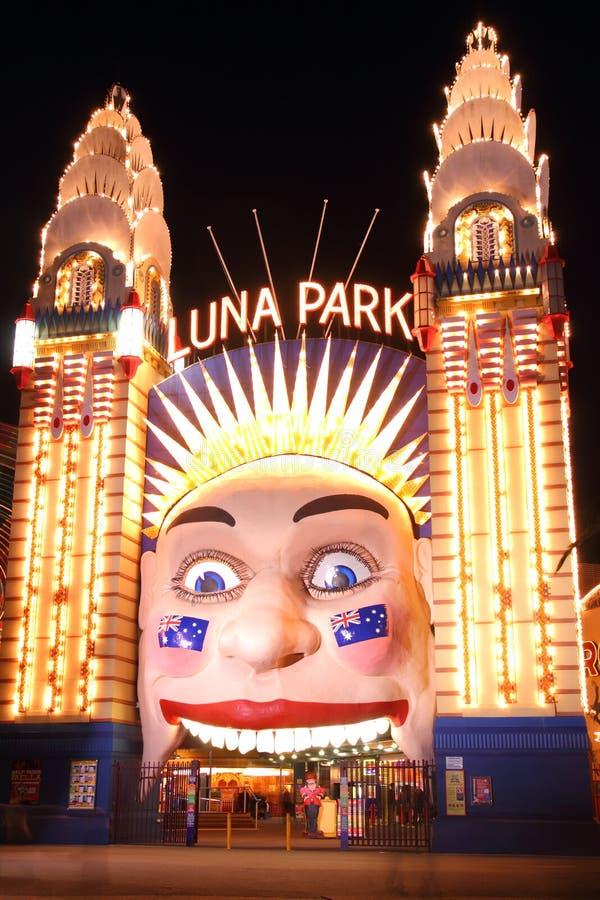 月神公园入口悉尼在晚上 图库摄影