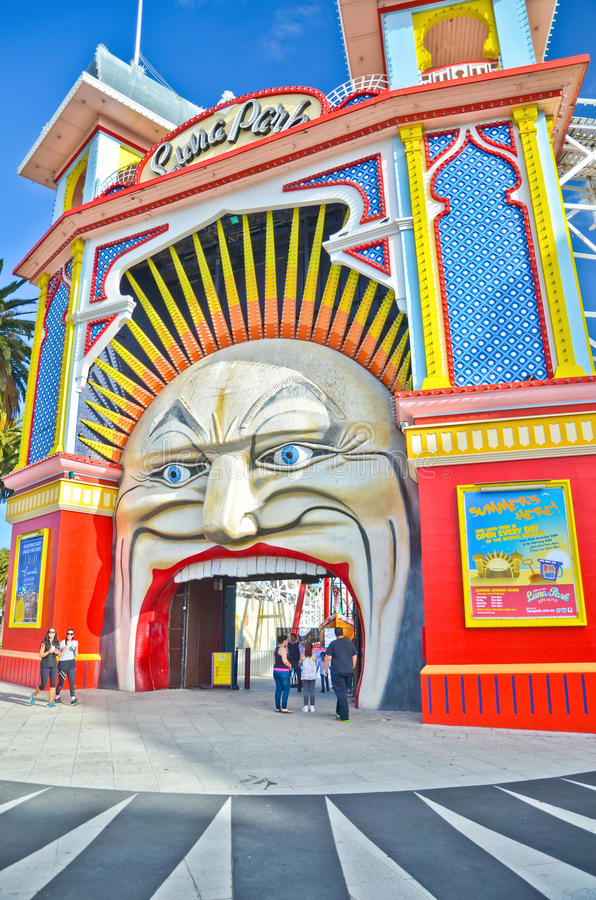 月神公园圣Kilda海滩的游乐园在墨尔本 免版税图库摄影
