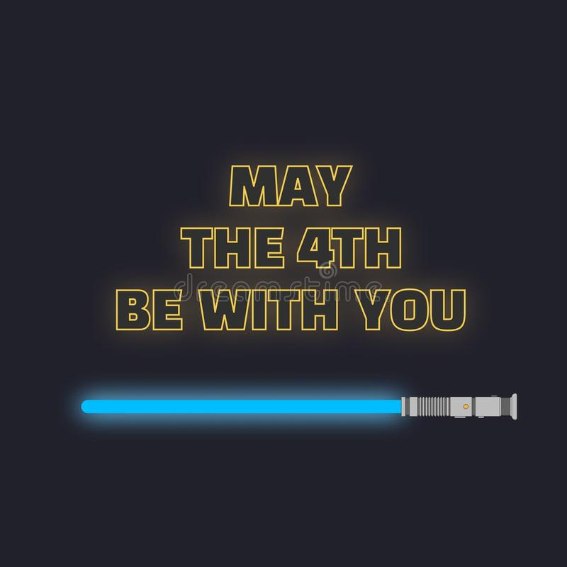 5月第四是与您 科学幻想小说黄色氖发光的信件和蓝色lightsaber 皇族释放例证