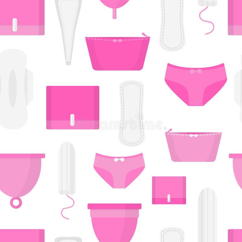 月经时间的无缝的样式 妇女卫生学方面的产品-棉塞,月经杯子,有益健康 平的样式 向量例证