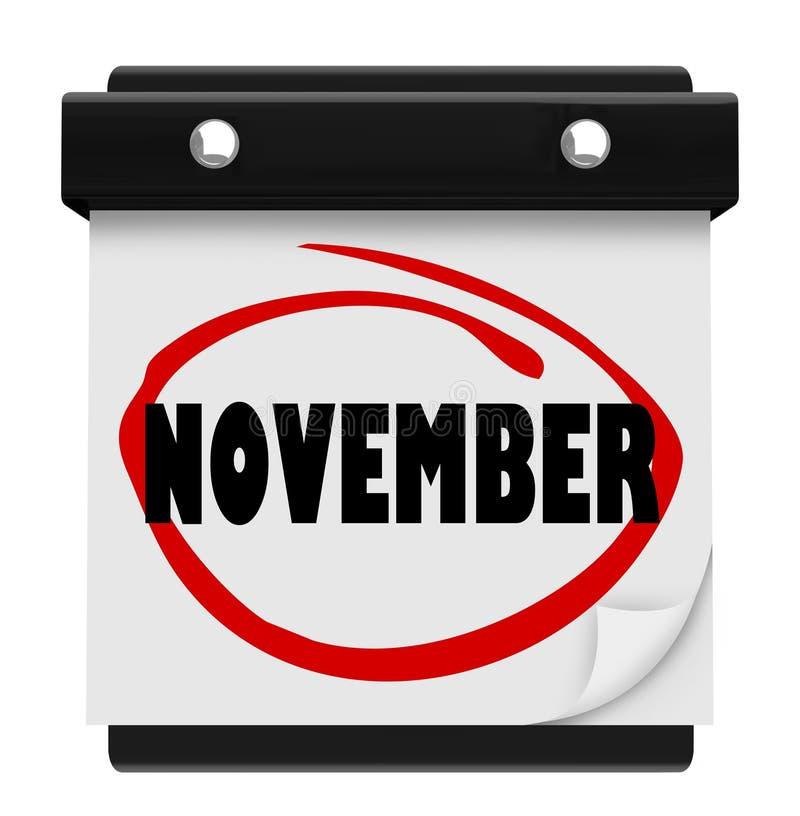 11月词挂历变动月日程表 皇族释放例证
