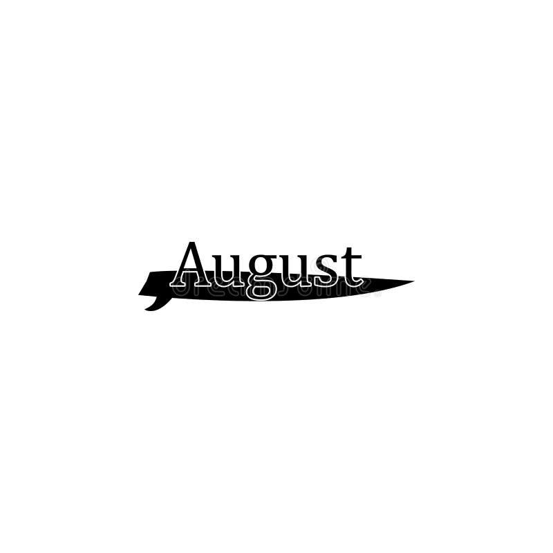 8月象 月的书面名字用不同的元素的与月象相关 优质质量图形设计象 O 库存例证