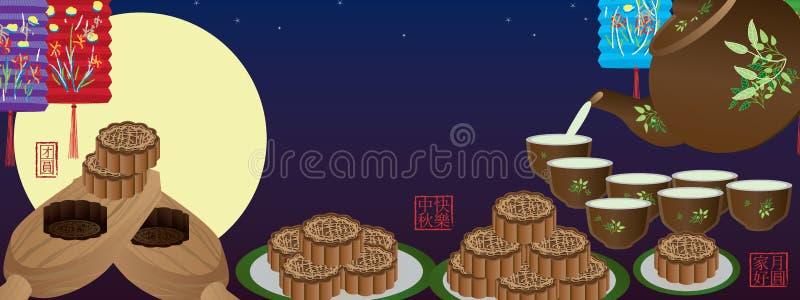 月饼夜横幅 向量例证