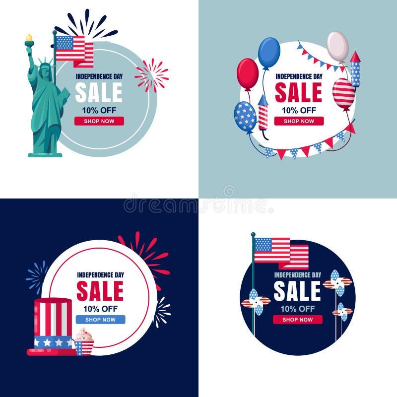 4 7月,美国美国独立日被设置的销售横幅 传染媒介假日圈子标签,贴纸背景 库存例证