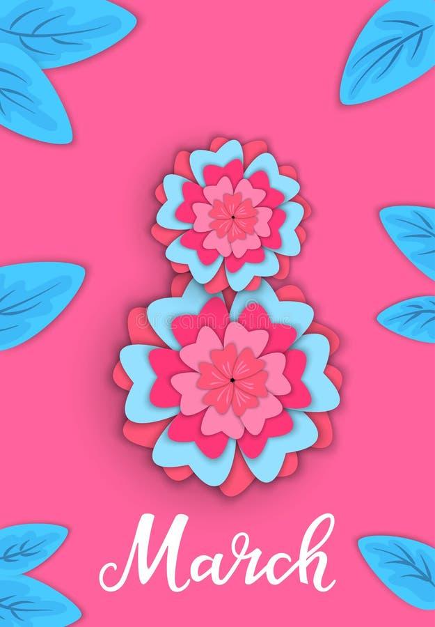 3月8 与花的横幅在纸样式 贺卡为妇女` s天 向量例证