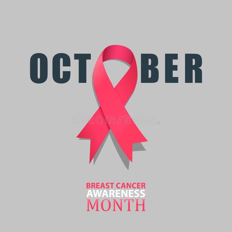 10月-乳腺癌与桃红色缎丝带例证的了悟月 皇族释放例证