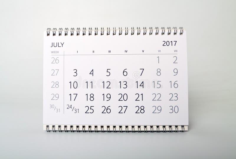 7月 年二千十七的日历 库存照片
