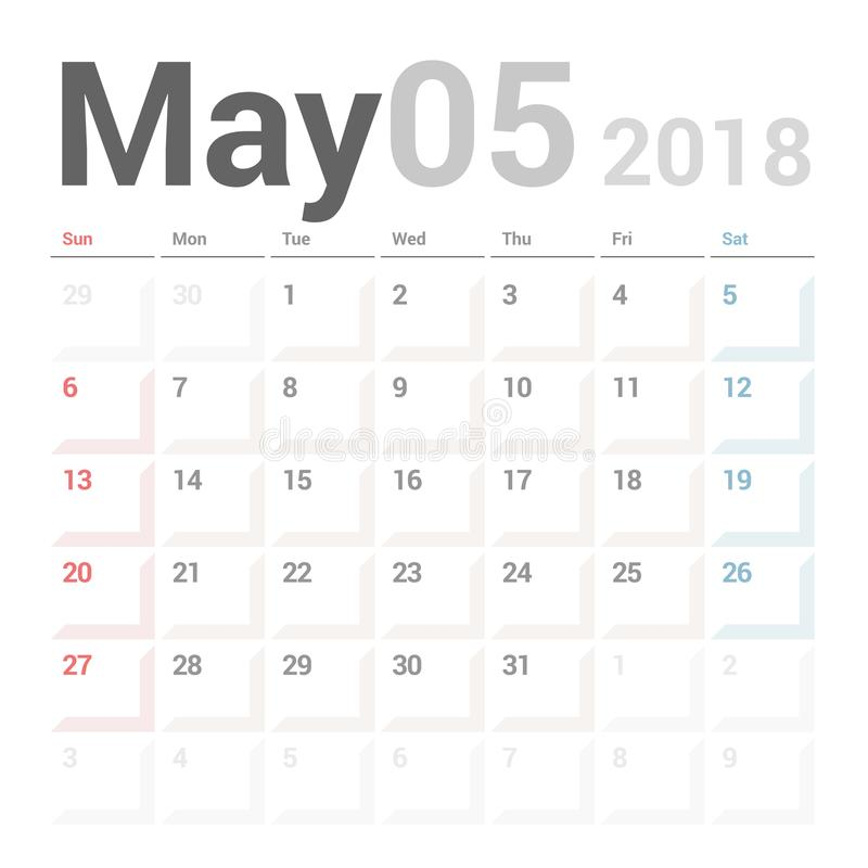 5月2018传染媒介固定式设计的模板的日历计划者 星期星期天开始 向量例证