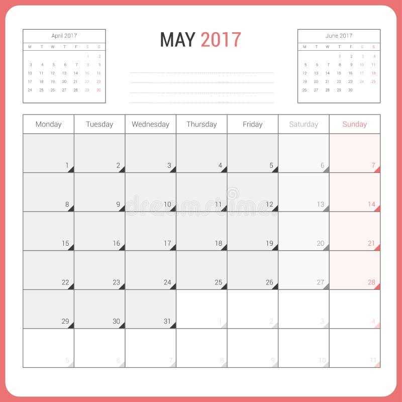 5月2017传染媒介固定式设计的模板的日历计划者 向量例证