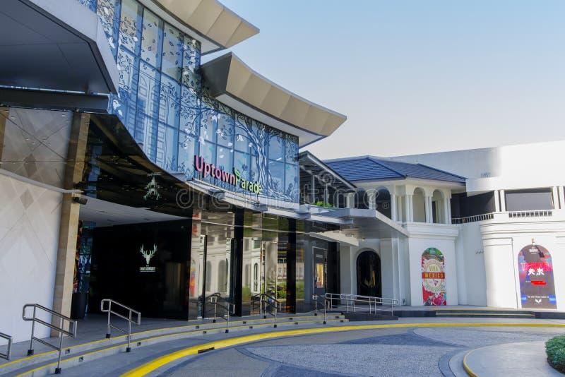 2月20,2018在前边住宅区的游行购物中心,达义市市  免版税库存图片