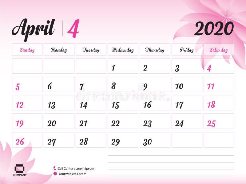 4月2020年模板,日历2020传染媒介,桌面日历设计,化妆用品的桃红色花概念,秀丽,温泉,事务 库存例证
