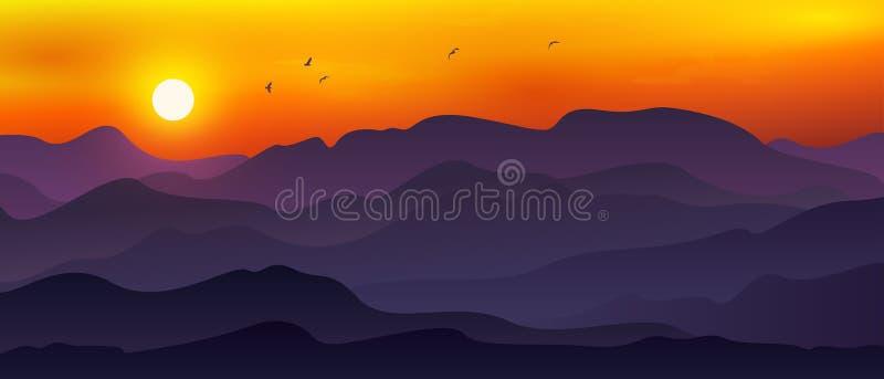 月/日、橙色天空与飞鸟结合的广阔山景图 库存例证