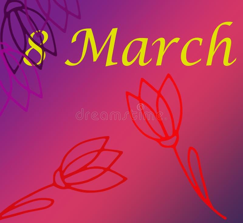 3月8日与五颜六色的花的国际妇女` s天贺卡模板 例证 皇族释放例证