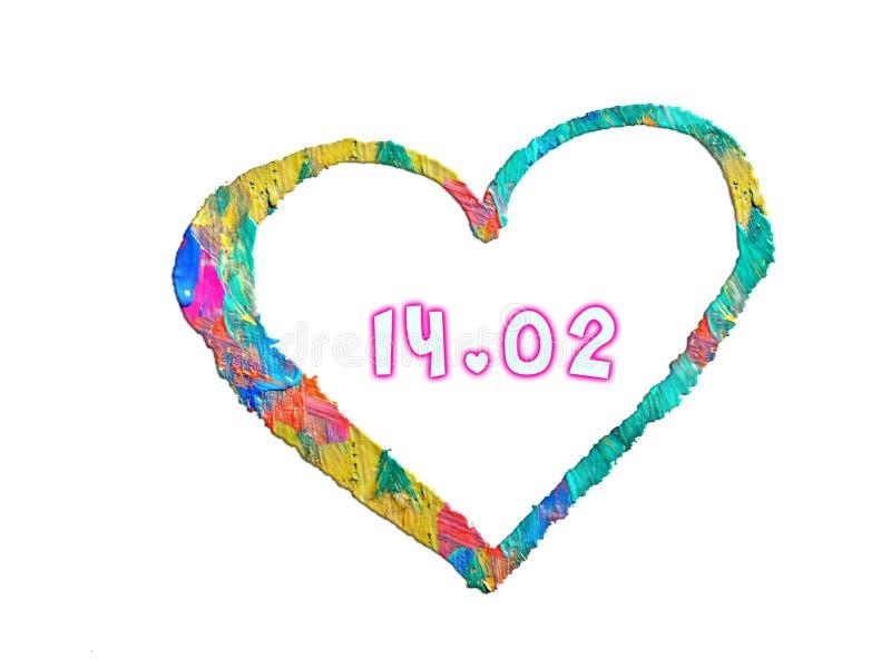 2月14日与小心脏的情人节在白色背景 向量例证