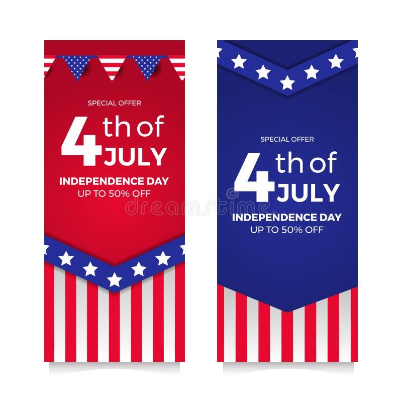 7月4日与旗子和星的美国独立日飞行物销售提议横幅 皇族释放例证