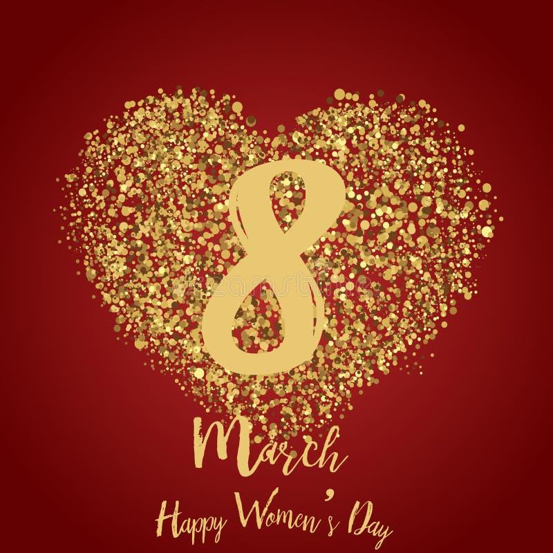 3月8日与金心脏的贺卡在红色 愉快的妇女` s天 向量 向量例证