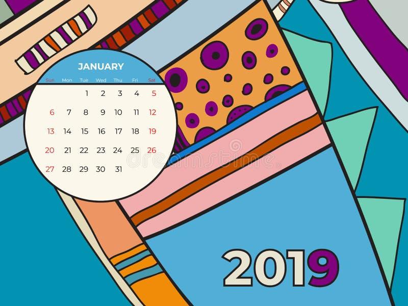 1月2019日历摘要当代艺术传染媒介 书桌,屏幕,桌面月01,2019,五颜六色的2019本日历模板 皇族释放例证