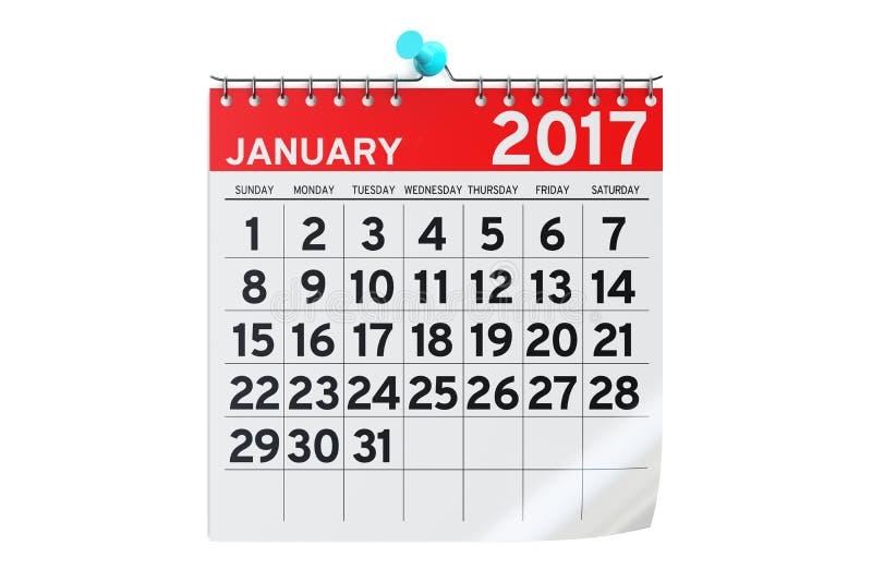 1月2017日历, 3D翻译 皇族释放例证