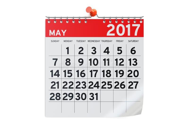 5月2017日历, 3D翻译 向量例证