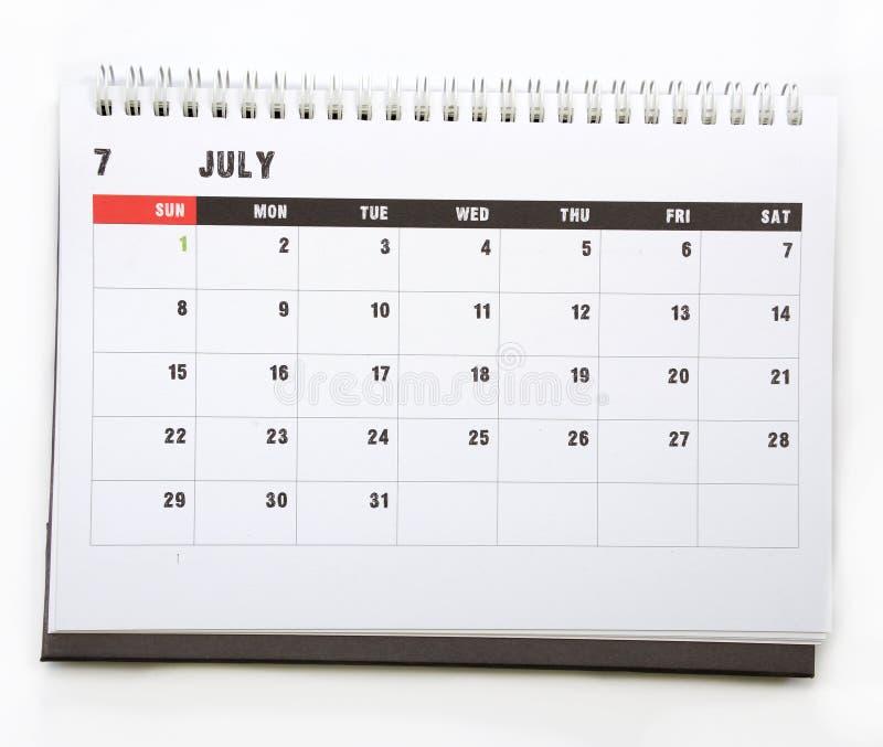 7月-日历 免版税库存图片